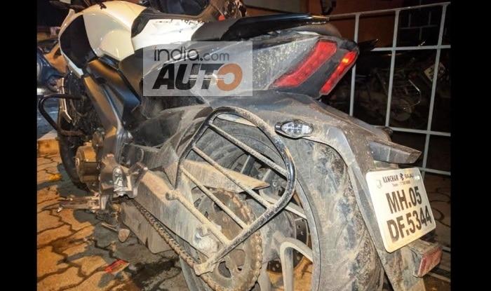 Bajaj Dominar 400 with cracked mono-shock & alloy wheels