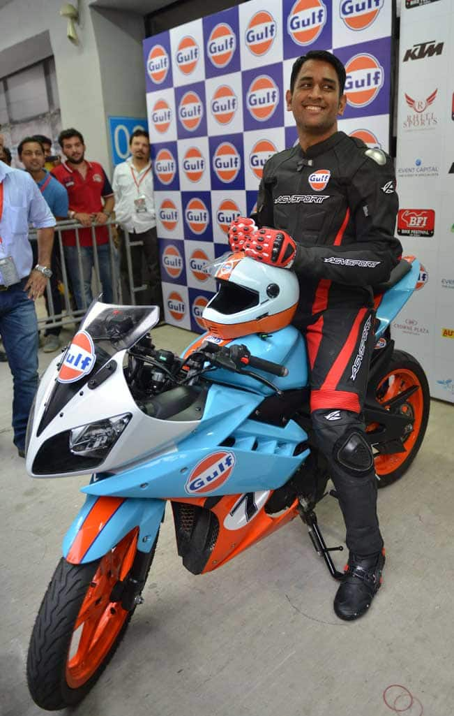 Indian cricket captain MS Dhoni launches Bike Festival of India at the Buddh international circuit, Greater Noida on Oct. 5, 2014. (Photo: IANS)