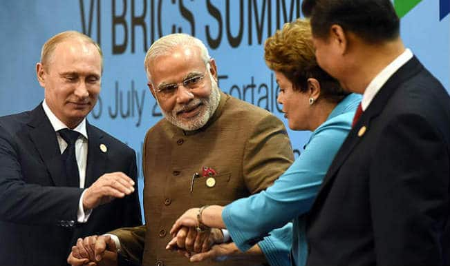 Vladimir Putin, Narendra Modi, Dilma Rousseff and Xi Jinping at BRCIS Summit 2014