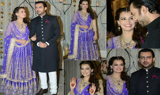 Dia Mirza wedding: The beauty queen's sangeet ceremony pictures with Sahil Sangha