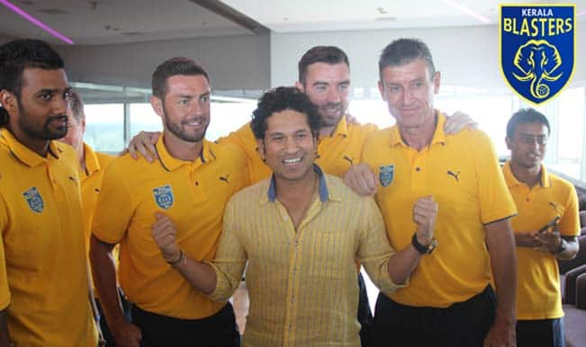Indian Cricket legend and team owner Sachin Tendulkar posing with the players and staff.