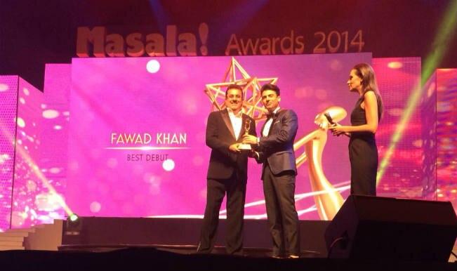 Fawad Khan bags the 'Best Bollywood Debut' Actor Trophy at Dubai 'Masala Awards 2014'