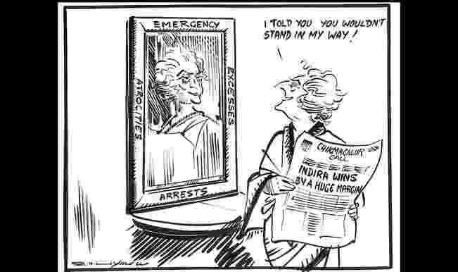 Indira Gandhi's cartoon by R K Laxman post Emergency bypolls