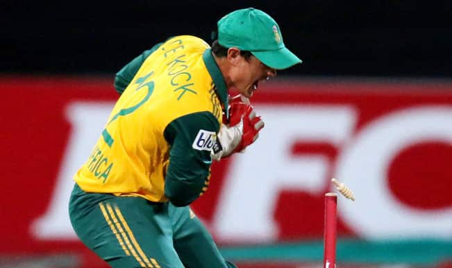 Quinton de Kock OUT! South Africa vs Ireland ICC World Cup 2015: Watch Video Highlights of fall of wicket