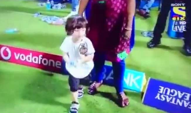 Cuteness alert: Shah Rukh Khan's son AbRam Khan plays on the cricket ground at Eden Gardens! Watch IPL 2015 video