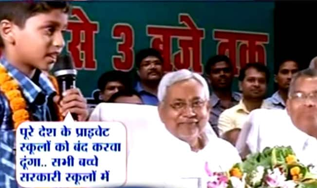 Watch 7-year-old boy from Bihar, Kumar Raj lambasting education system like no other; leaves Chief Minister Nitish Kumar speechless!
