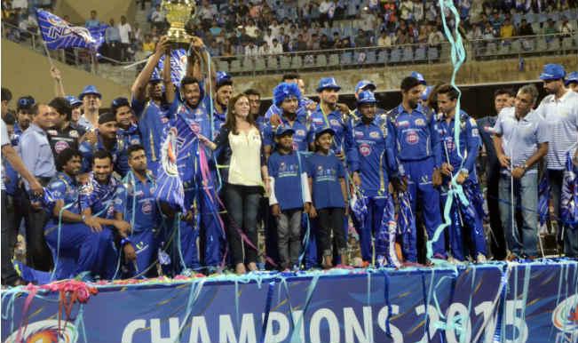 Champions Mumbai Indians celebrate at Wankhede Stadium amid huge fan support
