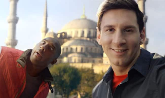 Lionel Messi and Kobe Bryant engage in a battle of selfies! – Watch Video
