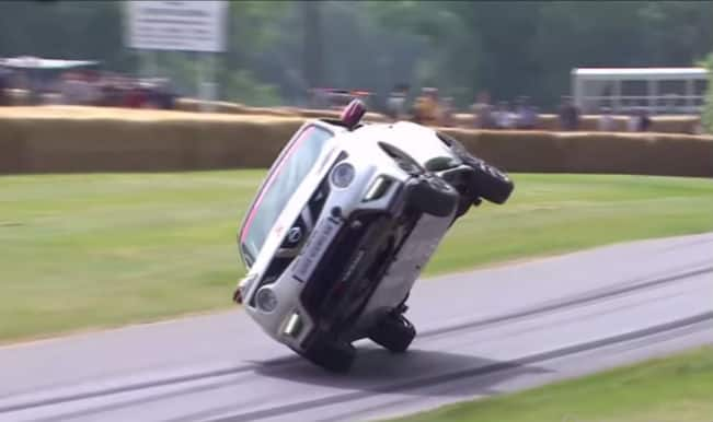 This driver not only drove a car on two wheels but created a world record as well
