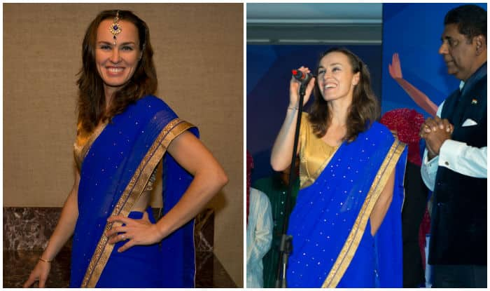 Tennis star Martina Hingis spotted in saree at CTL 2015 opening event