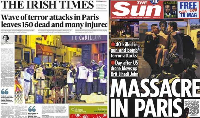 Newspapers globally paid homage to victims of Paris attack! Print media express shock over the catastrophic assault