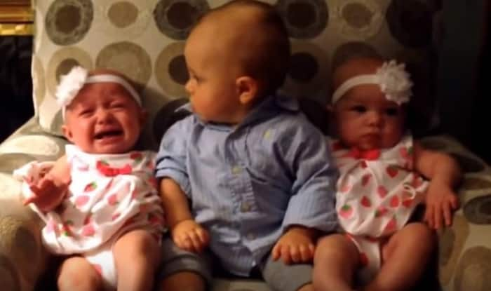 Adorable! Confused little 'big' brother meets twin babies