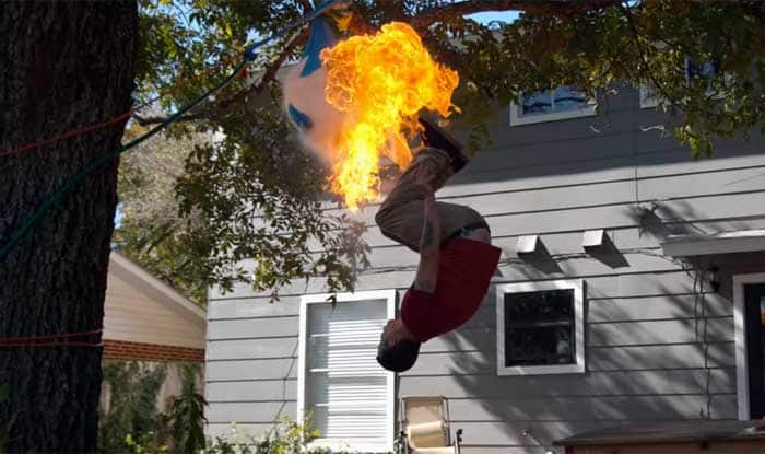 Steve-O's fire breathing back flip for Slow Mo Guys makes one amazing video