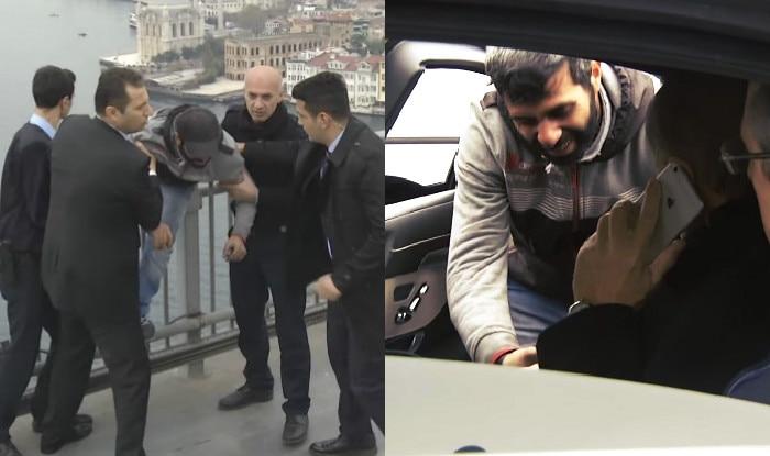 Turkey President Recep Tayyip Erdogan saves man from jumping off bridge