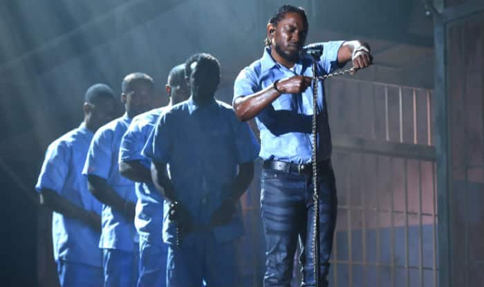 Kendrick Lamar stuns with politically-charged performance at Grammys