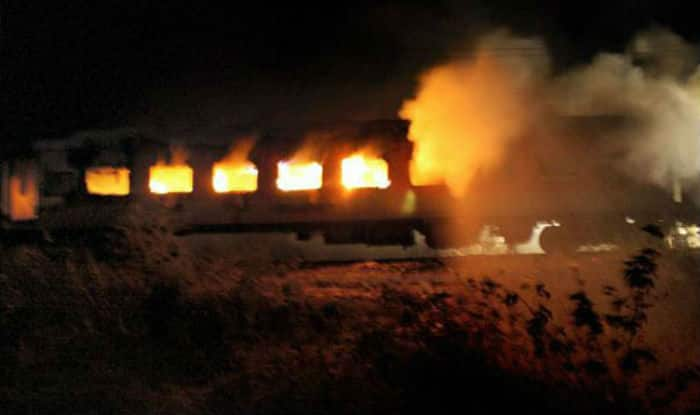 Pakistan train catches fire.