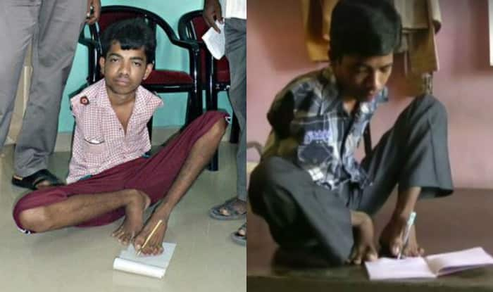 Born without hands, he wrote the Board exams with his toes, passed with 80 percent marks!
