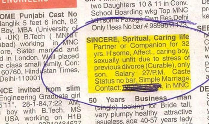 This father's newspaper ad seeking a wife for his 48-year