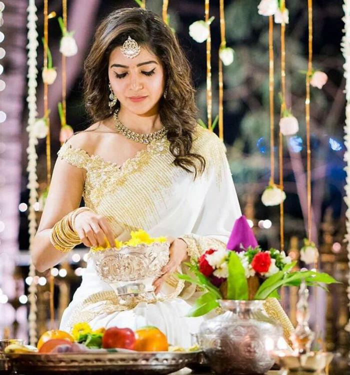 Samantha Prabhi engagement saree