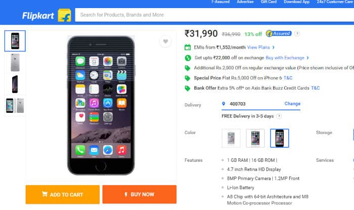 iPhone 6,Space Grey 16 GB variant for Rs 9990 on Flipkart is a hopeless deal for many