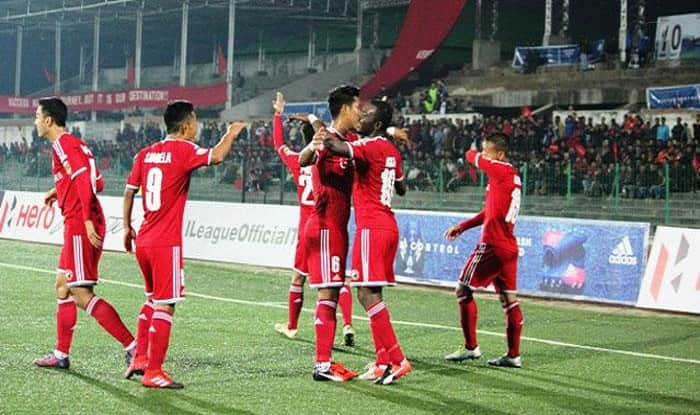 Shillong Lajong players are celebrating after winning the match.