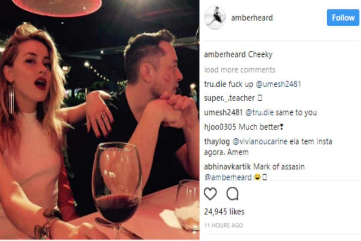 Amber Heard Kisses Elon Musk On The Cheek Makes Their Relationship Official On Social Media With This Picture India Com