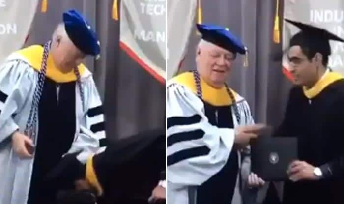 Indian student touching US Dean's feet at 2017 IIT Chicago Commencement Ceremony leaves him shocked, Twitterati in splits (Watch Video)
