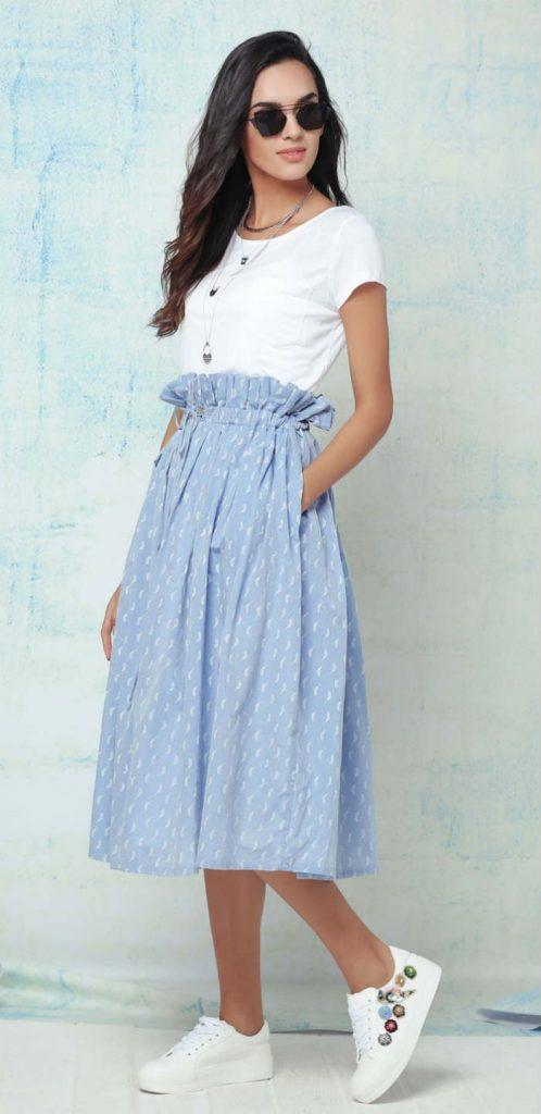 Midi skirt with frill waist