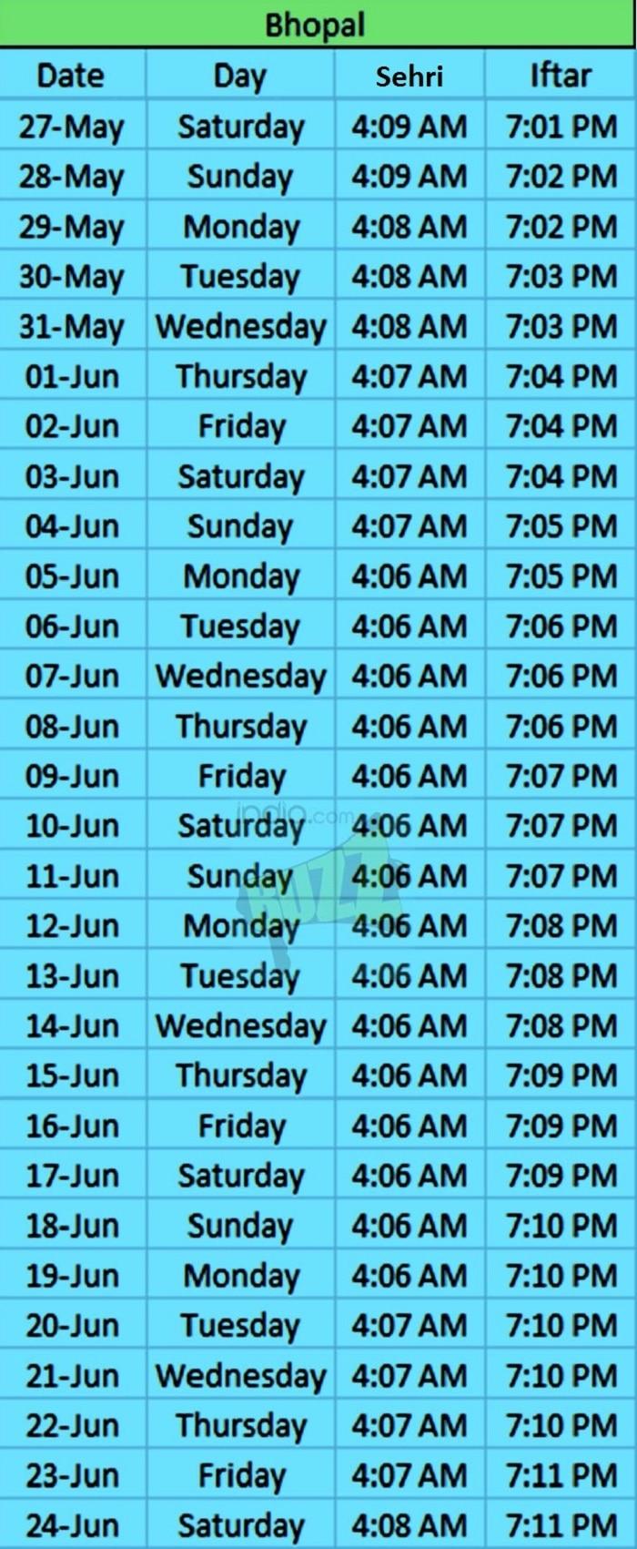 ramadan timing bhopal