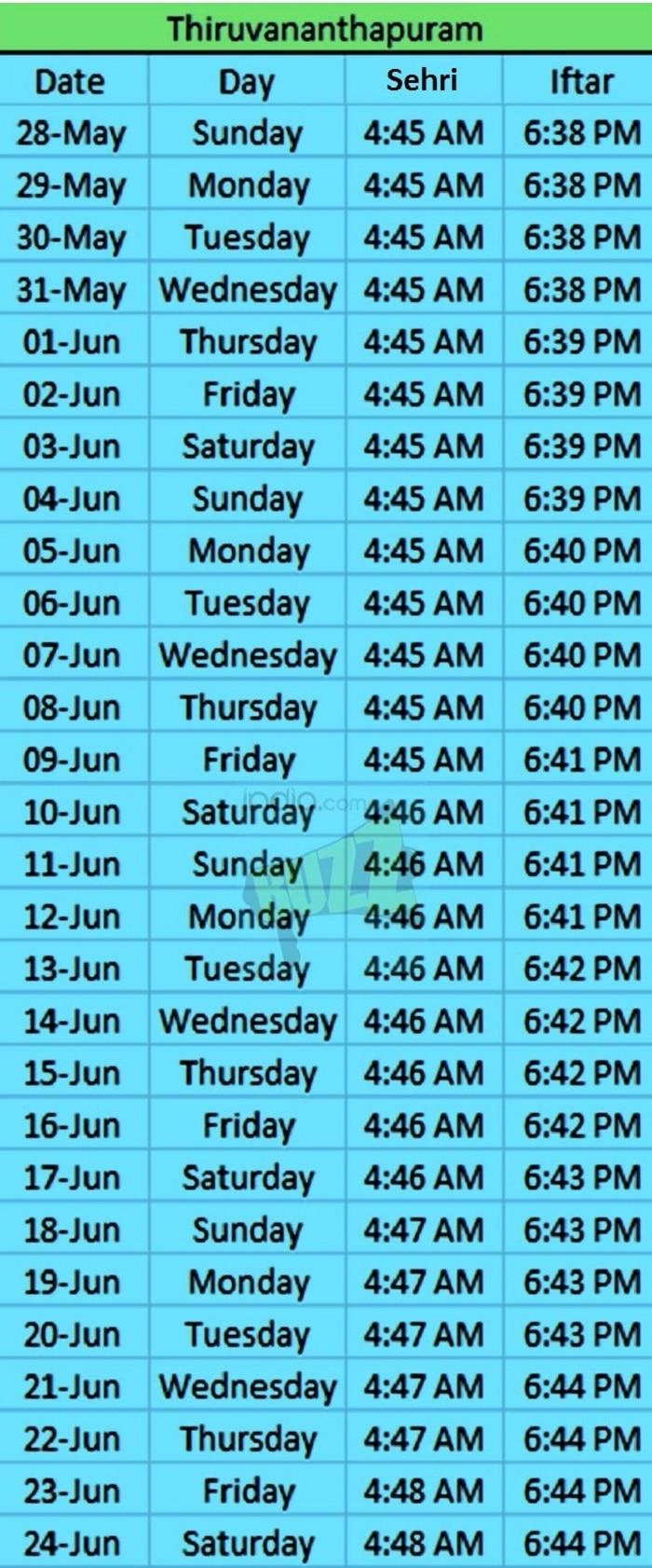 ramadan timing thri