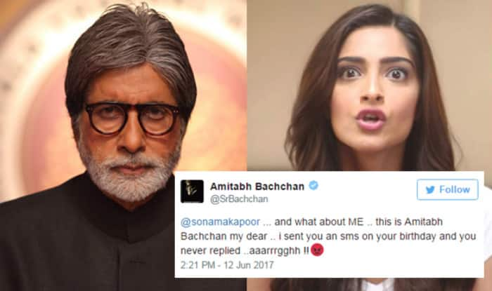 Amitabh Bachchan is angry with Sonam Kapoor after she fails to reply his SMS! Read their amusing Twitter conversation