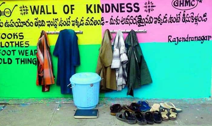 Hyderabad has a 'Wall of Kindness' where people can leave things for the needy