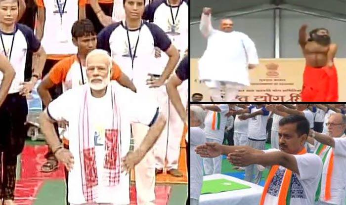 PM Modi, Amit Shah, Ramdev and Arvind Kejriwal perform Yoga