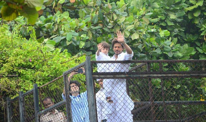 Eid Mubarak: Shah Rukh Khan along with son AbRam greeting his fans outside Mannat is the cutest thing you will see today – view pics