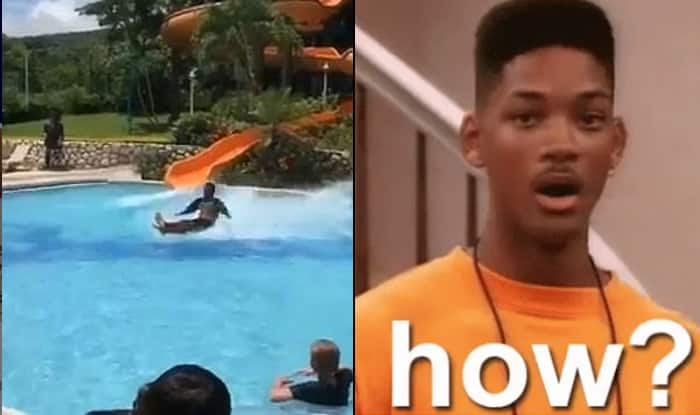 This guy's water slide landing stunt is unbelievable, baffled Twitterati comes up with funny reactions (Watch Video)