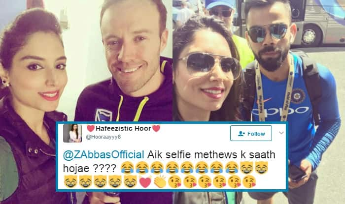 Pakistani Anchor Zainab Abbas' cursed selfies are being blamed for Virat Kohli and AB de Villiers's poor performances in ICC Champions Trophy 2017!