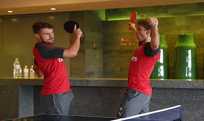 Arsenal Players Try Hands at Table Tennis Ahead of Chelsea Clash