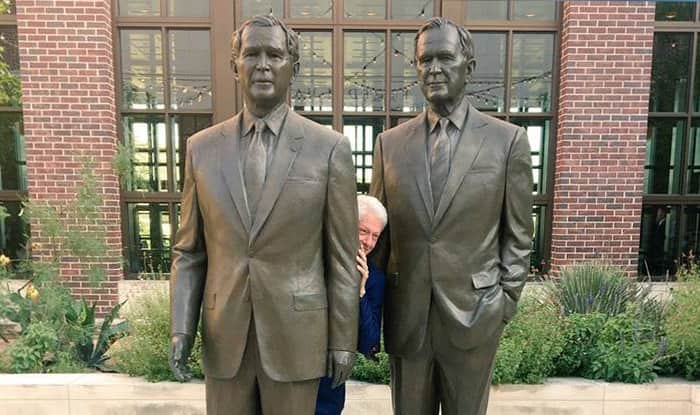 Bill Clinton Hides Between Two Bushes And Twitterati Can't Help Creating Memes And Photoshopping Him And Taking Digs at Sean Spicer