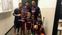 Lionel Messi, Luis Suarez and Neymar Meet Golf Legend Tiger Woods