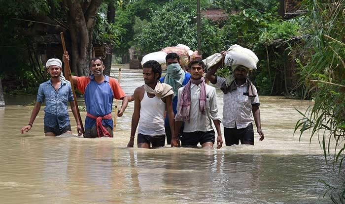 A view of flood-hit Sitamarhi District of Bihar