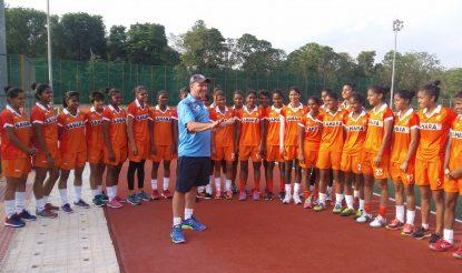 David John having a pep talk at the national camp of Indian women's team. (Image: Hockey India)