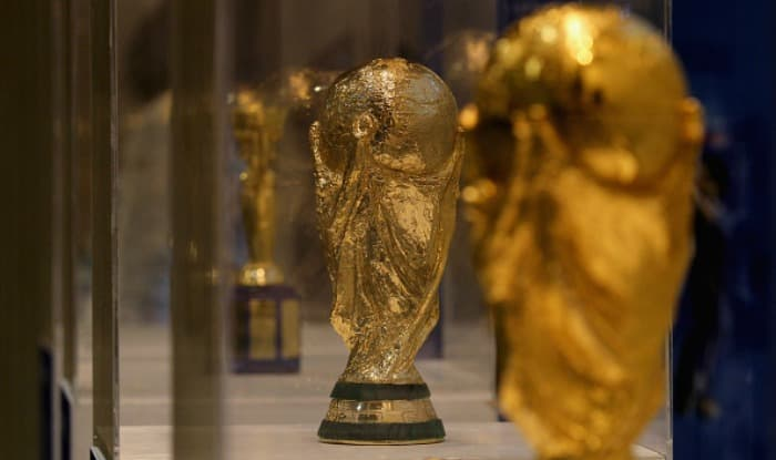 The FIFA World Cup Trophy on display. (Getty Image)