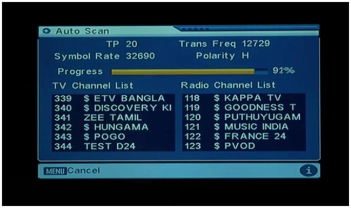 Free dish tv set top box channels list