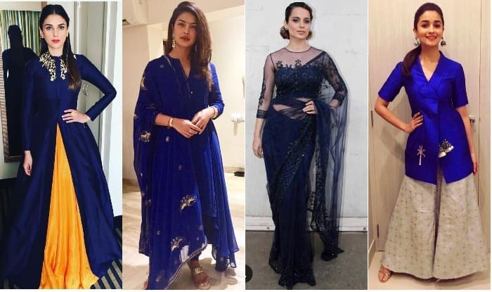Navratri 2017 Day 7 Color Royal Blue Wear Stunning Blue Shade In 5 Different Ways On Saptami India Com