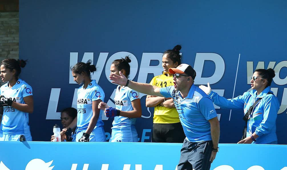 Sjoerd Marijne, coach of Indian women's hockey team, gestures from the dugout during the HWL Semis in Johannesburg. (Hockey India)
