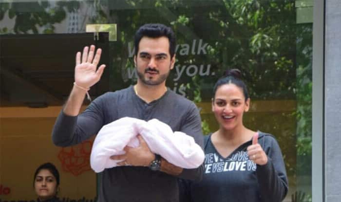 Esha Deol And Husband Bharat Takhtani Pose With Their Baby Girl Outside The Hospital