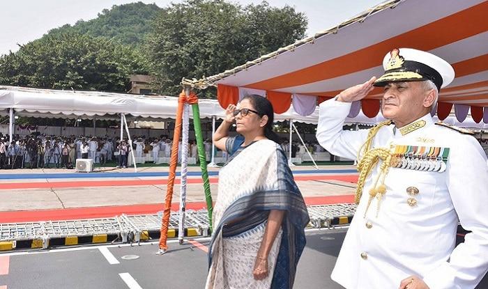 Nirmala Sitharaman commissions the INS Kiltan at the Vizag Naval Dock Yard