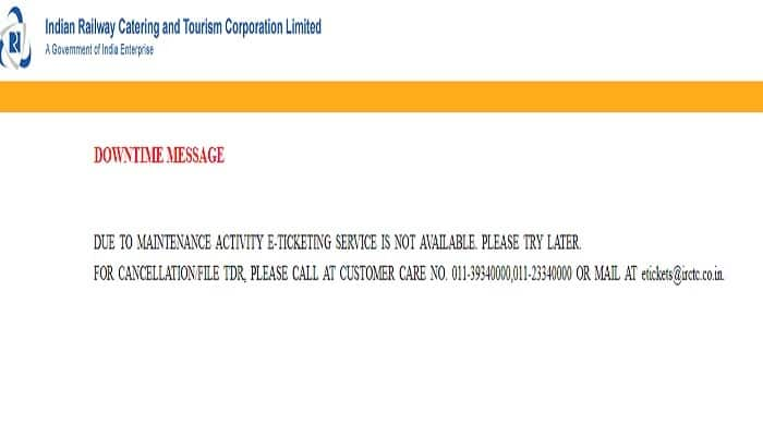 IRCTC Website Down Again