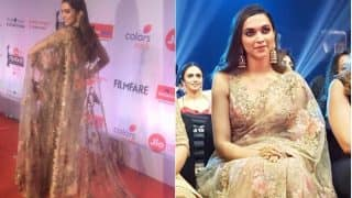 Deepika Padukone Attends the Marathi Jio Filmfare Awards Wearing A Gorgeous Embroidered Saree