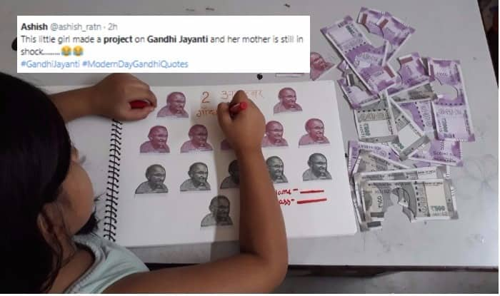 Picture of Girl Completing Gandhi Jayanti Project by Cutting Rs 500 & Rs 2000 Currency Notes Real Or Fake? Did You Know it is Illegal in India